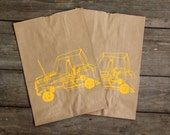 Large Brown Paper Bag Screen printed with Wire Car Design in Yellow ink Giftbag