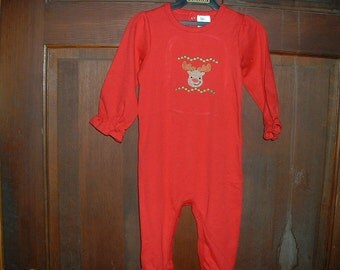 Red Long Sleeve Ruffle Long Romper-Faux Smocked-Size 12-18 Months--Christmas