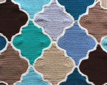Moroccan Trellis Crochet Pattern Picture Tutorial  - Trellis Pattern for Afghan - Crochet Pattern with Detailed Pictures