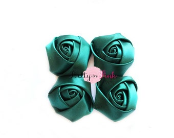 "DARK Green Satin Rolled Rosettes Lot of 4...Satin Rolled Rosettes...Mini Rolled Rosettes...1.5"" Rosettes"