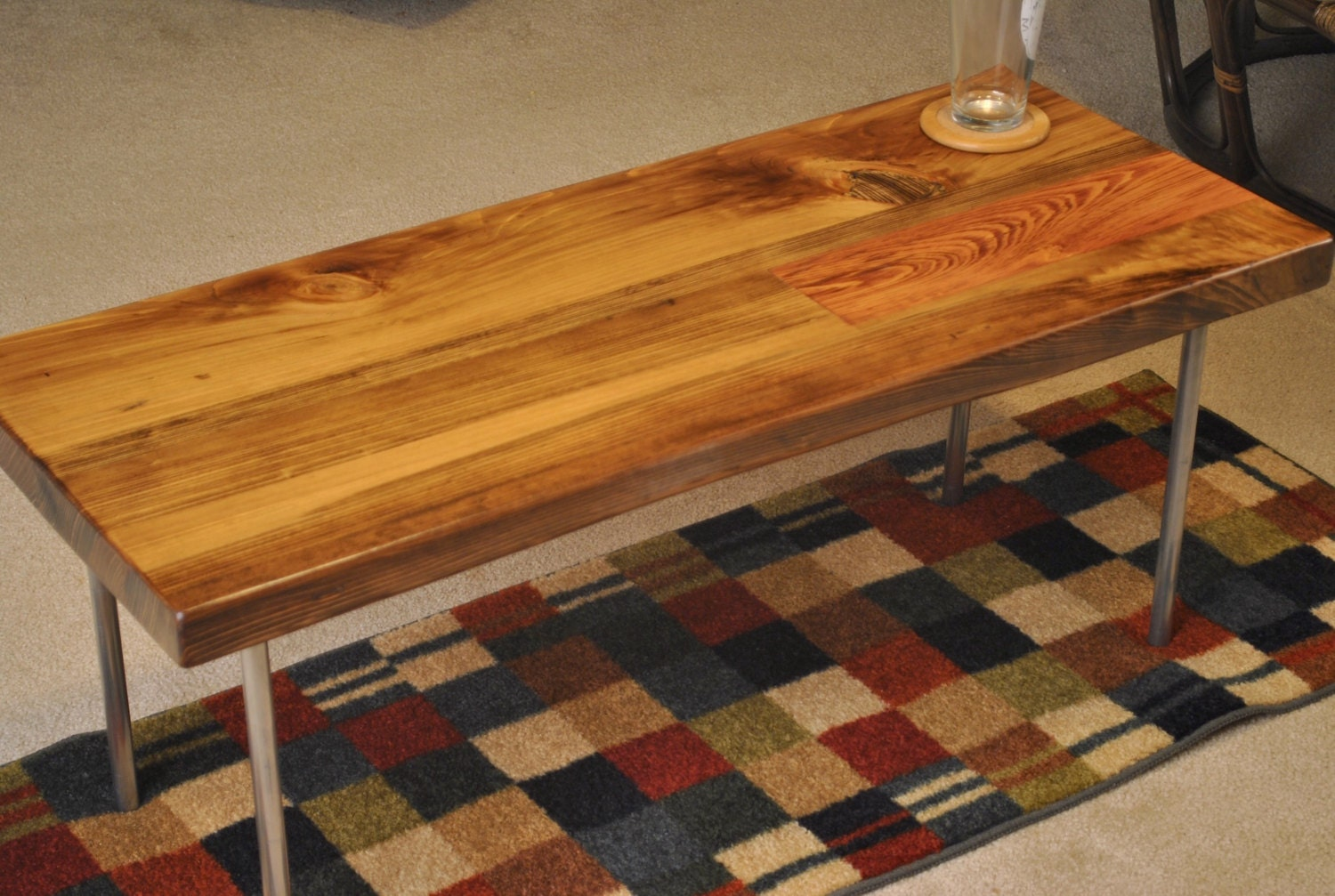 Metal Leg Cypress Coffee Table With Provincial Stain