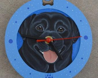 Is it treat time yet?  Black Labrador Retriever clock - handpainted - SALE