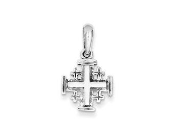 14k White Gold Jerusalem Cross Charm