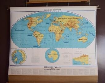 Vintage Large World Map Etsy - Large map of earth