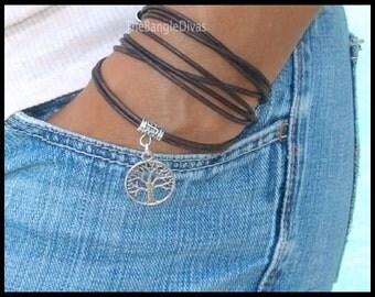 Boho LEATHER Wrap Bracelet w/ TREE of Life Charm - Adjustable Tibetan Style Triple Bohemian Wrap Rope Bracelet - USA - 736