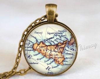 SICILY MAP Necklace, Sicily Pendant, Sicily Map Pendant, Sicily Keychain, Sicily Necklace, Sicily Jewelry, Sicily Island,  Mediterranean