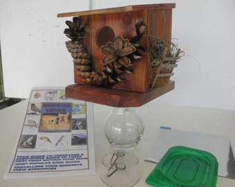Window Birdhouse and Feeder/ Hand made of Cedarwood / Mounts on window & watch birds from inside your home/Reverse mount to use as feeder
