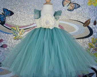 Sage Flower Girl Dress-Tutu Dress..Birthday Tutu Dress.. Flower girl dress...SageTutu Dress.. Flower girl tutu