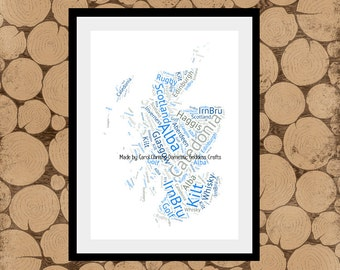 Map Of Scotland Word Art, Scotland Map, Map of Scotland, Scottish Print, Personalised Scottish Map, Scottish Word Collage, Scottish Gift.