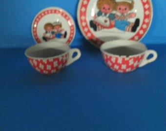 Old Tin Toy Dishes Raggedy Ann 1950s