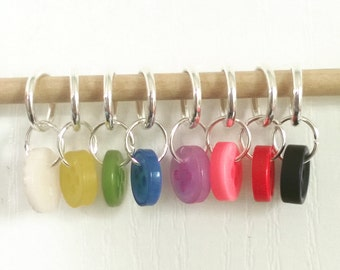 Set of 8 Rainbow Button Stitch Markers