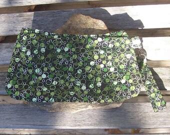 Green Circles Wristlet - Clutch Handbag Purse - Geometric Shapes - Money Fabric- Swoon Coraline