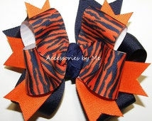 Tigers Cheer Bow Orange Navy Blue Ponytail Holder Girls Hair Accessories Sports Spirit Softball Football Soccer Volleyball Team Color Choice