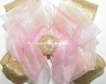 Pink Gold Hair Bow, Sparkly Organza Metallic Lame Clip, Baby Girls Toddler Accessories, First 1st Birthday Barrette, Boutique Pageant Bows