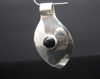 Onyx Pendant Sterling Silver Teardrop Split Modernist Design Mexico 925 HOB