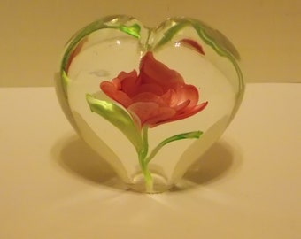 Vintage Art Glass Heart with Flower Paperweight