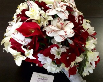 Baseball Rose Bridal Bouquet/ Cincinnati Reds Bouquet