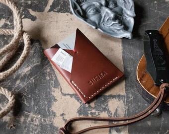 Minimalist Wallet Almond Veg Tan Leather