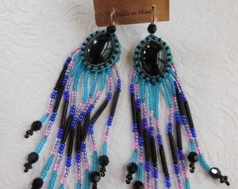 Vintage 1980's Beaded Earrings