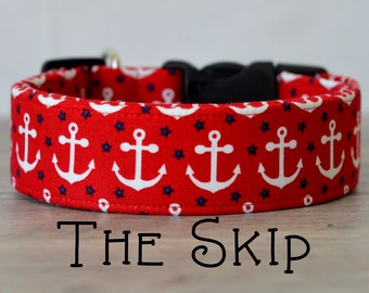 "Nautical Red, White & Red Anchor Dog Collar ""The Skip"""