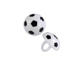 Soccer Ball Cake Cupcake Topper Rings -  - 12 count - Baking and Candy Making Party Decorations