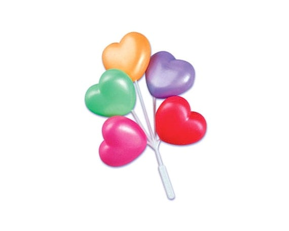 12 heart balloon cluster cake decoration or cupcake topper for Balloon cluster decoration