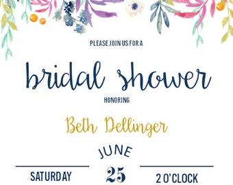 Sweet Garden Bridal Shower Invitation Digital File ONLY