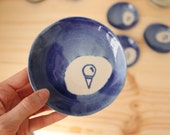 Cobalt blue plates Ice cream drawing plates Popsicle ice cream Stoneware handbuilt little plates  - Ready to ship