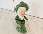 Leprechaun Figurine, Bisque Leprechaun, St Patricks Day Decor, Vintage Leprechaun