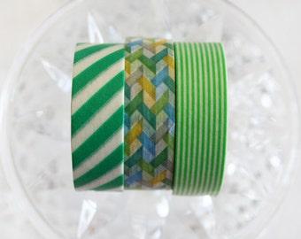 Green Washi Tape Set of 3