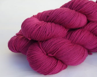 Hand dyed Double knit weight yarn 100% Superwash Merino  - raspberry pink