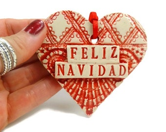 Feliz Navidad Heart Ornament, Spanish Christmas Ornament, Christmas Tree Ornament, Spanish Decoration, Christmas Gift Tag, Holiday Decor