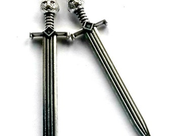 Cat Sword Earrings Silver Dangle Sabre Handmade Gift