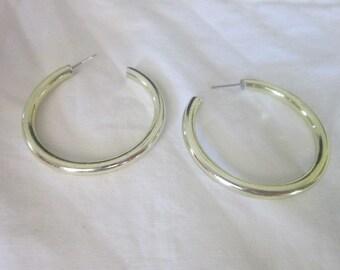 Vintage Large Gold Tone Hoop Pierced Earrings