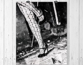 Fishnet Stockings Fine Art Print Black and White Portrait Photography Grunge Art Urban Decay Gallery Wall Prints Affordable Wall Art