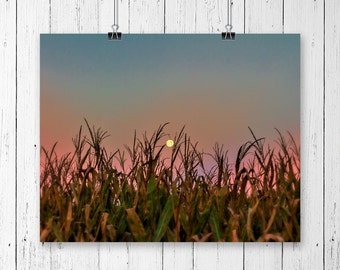 Harvest Moon Landscape Print Nature Photography Country Girl Gift Rustic Home Decor Farmhouse Chic Art Print Moon Print Gallery Wall Prints