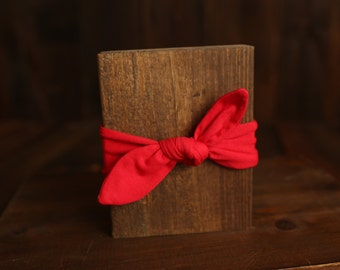 Red Top Knot Knit Headband, Adjustable, Newborn to adult, photography prop, everyday wear
