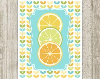Fruit Poster Kitchen Printable Lemon Lime Orange Citrus Kitchen Print Kitchen Wall Art