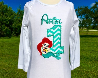 BABY ARIEL-The Little Mermaid Personalized EMBROIDERED Bodysuit or T-shirt