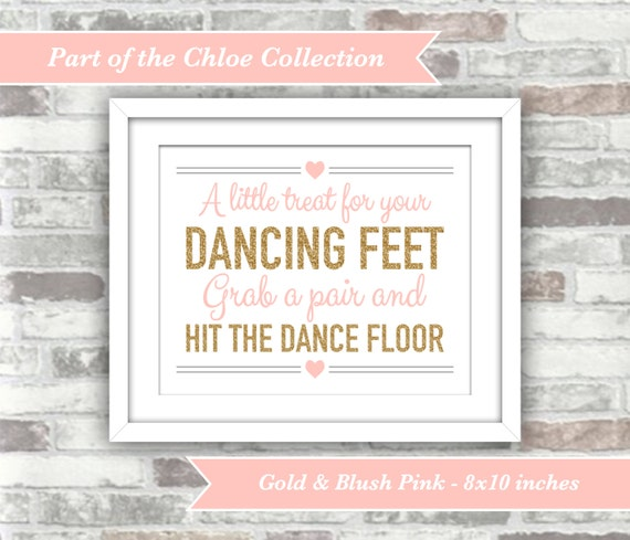 INSTANT DOWNLOAD - Chloe Collection - Printable Wedding Flip Flop Sign - 8x10 Digital Files - A little treat dancing feet - Gold Blush Pink