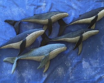 Whale toy, stuffed, hand made from recycled materials, made to order