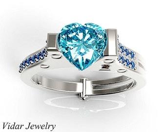 Heart Cut Aquamarine Handcuff Engagement Ring,Unique Engagement Ring,Aquamarine Engagment Ring,Heart Diamond Engagement Ring,Custom Ring