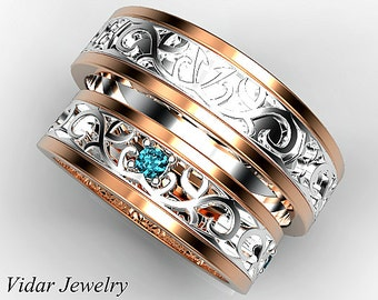 His ans Her Blue Diamond Matching Band Set,Wedding Band Set,Unique Matching Wedding Band Set,Rose Gold Band Set,Unique Two Tone Ring Set