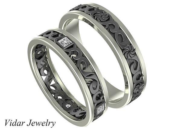 Black Gold Matching Wedding Band SetHis and Hers Diamond