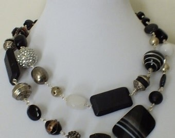Jasper, Onyx and Agate Statement Necklace