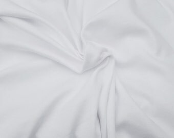 """White Bamboo Cotton Fabric Jersey Knit by the Yard 70""""W 5/16"""