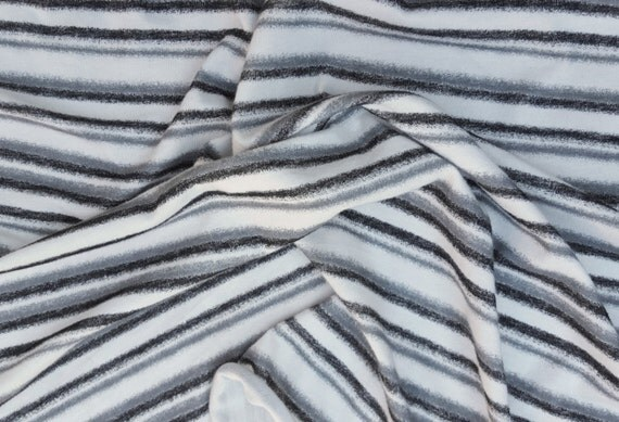 Modal Spandex Black Gray White Stripe Print 6 Fabric