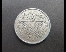 Classic Antique (1951 Vintage Mysterious PENTAGRAM & Fleur-d-lis EMPIRE Maroc Cherifien 2 Francs Coin, Morocco) Rare MAGICAL Talisman Charm!