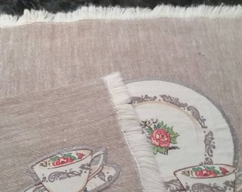 Vintage Teacup Linen Placemat and Napkin Set of 4