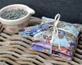 Lavender sachets, Japanese fabric miniature patchwork lavender bags lavender pillows. Microwavable hand warmer or laundry drawer bags UK